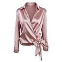 cheap Women's Heels-Women's Holiday Street chic Shirt - Solid Colored Shirt Collar Pink M / Fall