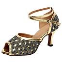cheap Women's Flats-Women's Latin Shoes Sparkling Glitter Sandal Customized Heel Dance Shoes Gold / Silver / Indoor
