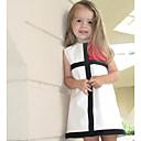 olcso Lány ruhák-Születésnap Napi Szabadság Pamut Mértani Nyár Ujjatlan Lány Ruha Fekete-fehér kockás Rubin Arcpír rózsaszín