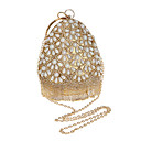 cheap Totes-Women's Bags Polyester Evening Bag Crystals / Pearls Black / Silver / Red