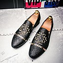 cheap Men's Oxfords-Men's Formal Shoes Leather Fall / Winter Comfort / British Loafers & Slip-Ons Black / Silver / Rhinestone / Wedding / Party & Evening