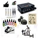 cheap Starter Tattoo Kits-BaseKey Tattoo Machine Starter Kit - 1 pcs Tattoo Machines with 7 x 15 ml tattoo inks, Professional LED power supply Case Included 1 steel machine liner & shader