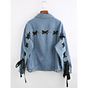 cheap Window Film & Stickers-Women's Going out Cotton Denim Jacket - Solid Colored Shirt Collar