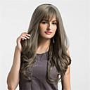 お買い得  人工毛ウィッグ-人工毛ウィッグ 女性用 ウェーブ グレイ 合成 ミドル部 グレイ かつら 非常に長いです キャップレス グレイ MAYSU