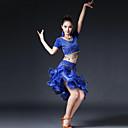cheap Dance Accessories-Latin Dance Outfits Women's Performance Milk Fiber Copper Coin Ruffles Short Sleeve Dropped Skirts Top