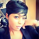 abordables Trenzas-Pelo humano pelucas sin tapa Cabello humano Recto Peluca afroamericana Parte lateral Corta Hecho a Máquina Peluca Mujer