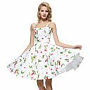 hesapli Lolita Elbiseleri-Kadın's Büyük Bedenler Dışarı Çıkma Vintage Pamuklu Kılıf / Çan Elbise - Çiçekli, Arkasız Askılı Diz-boyu
