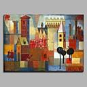 baratos Pinturas Abstratas-Pintura a Óleo Pintados à mão - Abstrato Moderno / Contemporâneo Tela de pintura