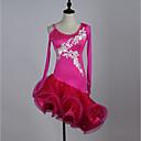 abordables Ropa de Baile para Niños-Baile Latino Vestidos Mujer Rendimiento Licra / Georgette Apliques / Cristales / Rhinestones Manga Larga Cintura Alta Vestido