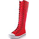cheap Women's Boots-Women's Shoes Canvas Fall / Winter Fashion Boots Boots Creepers Knee High Boots Rivet White / Black / Red / Party & Evening