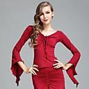 cheap Wedding Wraps-Ballroom Dance Tops Women's Performance Ice Silk Ruffles Long Sleeves Top