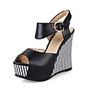 cheap Women's Sandals-Women's Shoes PU(Polyurethane) Summer / Fall Comfort / Novelty Sandals Wedge Heel Peep Toe Buckle Black / Blue / Pink / Wedge Heels