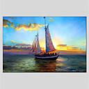 billige Abstrakte malerier-Hang malte oljemaleri Håndmalte - Landskap Moderne Lerret / Stretched Canvas