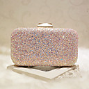 cheap Clutches & Evening Bags-Women's Bags Faux Leather Evening Bag Sequin White / Blushing Pink