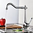 baratos Torneiras de Cozinha-Estilo Moderno bico padrão Conjunto Central Válvula Cerâmica Cromado, Torneira de Cozinha