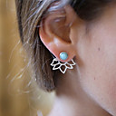 cheap Necklaces-Women's Turquoise Front Back Earrings / Ear Jacket - Resin Flower Vintage, Fashion Gold / Silver For Daily