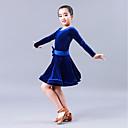 hesapli Latin Dans Ayakkabıları-Latin Dansı Elbiseler Performans Kadife Şifon Fiyonk Uzun Kollu Elbise