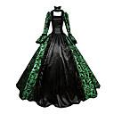 preiswerte Ohrringe-Viktorianisch Mittelalterlich 18. Jahrhundert Kostüm Damen Kleid Party Kostüme Maskerade Ballkleid Grün Vintage Cosplay Spitze Satin Party Abiball Langarm Gedicht Quadratischer Ausschnitt Normallänge