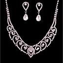 זול סטים של תכשיטים-בגדי ריקוד נשים סט תכשיטים - מצופה כסף קלסי, אופנתי לִכלוֹל סטי תכשיטי כלה כסף עבור חתונה Party