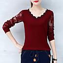 preiswerte Wand-Sticker-Damen Solide Baumwolle T-shirt, V-Ausschnitt Spitze Patchwork