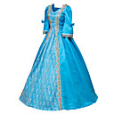 cheap Historical & Vintage Costumes-Rococo Victorian Costume Women's Dress Party Costume Masquerade Ball Gown Blue Vintage Cosplay Satin Long Sleeve Floor Length Halloween Costumes