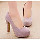 olcso Női magassarkú cipők-Női Cipő PU Tavasz / Ősz Magasított talpú Magassarkúak Tűsarok Fekete / Ezüst / Rózsaszín