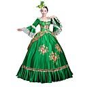 abordables Ropa para Baile Latino-Rococó Victoriano Disfraz Mujer Ropa de Fiesta Baile de Máscaras Verde Cosecha Cosplay Satín Manga Larga Hasta el Suelo Salón / Floral