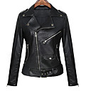 cheap Synthetic Lace Wigs-Women's Street chic Leather Jacket-Solid Colored
