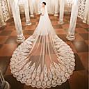 رخيصةأون دعوات الزفاف-One-tier الحجاب الزفاف Cathedral Veils مع زينة دانتيل / تول / Angel cut / Waterfall