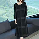cheap Women's Sneakers-Women's Plus Size Cotton Loose / Shift Dress - Check Black / Spring / Fall