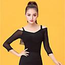 preiswerte Kleidung für Lateinamerikanischen Tanz-Latein-Tanz Damen Leistung Eis-Seide Quaste 3/4 Ärmel Top