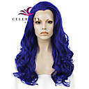 cheap Synthetic Lace Wigs-Synthetic Lace Front Wig Wavy Synthetic Hair Natural Hairline / Middle Part Blue Wig Women's Long Lace Front Blue