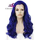 halpa Synteettiset peruukit verkolla-Synteettiset pitsireunan peruukit Laineita Tyyli Lace Front Peruukki Sininen Sininen Synteettiset hiukset Naisten Luonnollinen hiusviiva / Keskijakaus Sininen Peruukki Pitkä Cosplay-peruukki