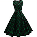 cheap Motorcycle & ATV Parts-Women's Going out Vintage Cotton A Line Dress - Check Print / Summer