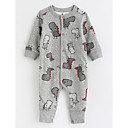 cheap Girls' Dresses-Baby Patterned One-Pieces, Cotton Fall Long Sleeves Gray