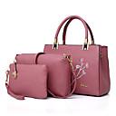 cheap Shoulder Bags-Women's Bags PU(Polyurethane) Bag Set 3 Pcs Purse Set Embroidery / Zipper Red / Blushing Pink / Gray