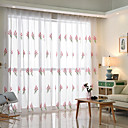 cheap Curtains Drapes-Rod Pocket Grommet Top Tab Top Double Pleat Pencil Pleat Curtain Contemporary, Embroidery Floral Bedroom Polyester Blend Material Sheer