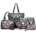 abordables Bolsos Totes-Mujer Bolsos PU Conjuntos de Bolsa Set de 6 piezas de monedero Diseño / Estampado Estampado Floral Verde Oscuro