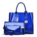 baratos Conjunto de Bolsas-Mulheres Bolsas PU Conjuntos de saco 3 Pcs Purse Set Ziper Preto / Vermelho / Roxo