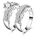 cheap Bracelets-Men's / Women's Cubic Zirconia Band Ring - Zircon 7 / 8 / 9 Silver For Wedding / Party / Engagement / 2pcs / Gift / Valentine