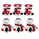 お買い得  クリスマスデコレーション-6個の雪だるまサンドラ・クラーク・エルク・カトラリー・スーツホルダーポケット・ナイフ・フォーク食器袋クリスマスディナー・テーブル