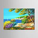 tanie Obrazy: motyw roślinny/botaniczny-Hang-Malowane obraz olejny Ręcznie malowane - Krajobraz Nowoczesny Brezentowy / Rozciągnięte płótno