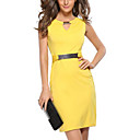 cheap Women's Heels-Women's Plus Size Going out Slim Bodycon Dress - Solid Colored V Neck