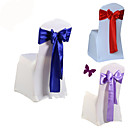 cheap Slipcovers-10Pcs/Set Wedding Chair Cover Sash Bow Tie Ribbon Decoration Wedding Party Supplies