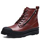 זול נעלי ספורט לגברים-בגדי ריקוד גברים עור נאפה Leather סתיו / חורף נוחות / עפעף בטנה מגפיים מגפיים באורך אמצע - חצי שוק שחור / חום