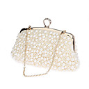 cheap Backpacks-Women's Bags Polyester Evening Bag Pearls Champagne / Black / Beige / Wedding Bags / Wedding Bags