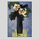preiswerte Stillleben Gemälde-Hang-Ölgemälde Handgemalte - Blumenmuster / Botanisch Modern Segeltuch