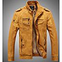 tanie Biżuteria religijna-Skórzana kurtka Męskie Kołnierz stawiany Solidne kolory PU / Inne / Długi rękaw