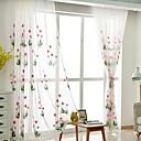 baratos Cortinas Transparentes-Barra no Interior Anéis Presilhas Duplo Plissado Único Plissado Tratamento janela Regional, Bordado Floral Quarto Mistura de poliéster