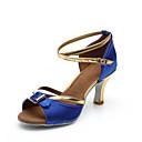 رخيصةأون أحذية لاتيني-نسائي ستان أحذية رقص كعب كعب مخصص مخصص أزرق / داخلي / جلد